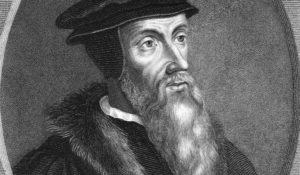 John Calvin (1509-1564) on engraving from the 1800s. Theologian, founder of Calvinism. Engraved by T. Woolnoth and published in London by Wm. S. Orr & Co.