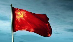 Soviet Union (1922-1991) flag waving in the evening