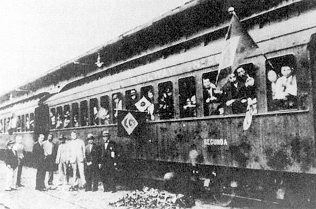 Imagem de trem durante a imigração no Brasil
