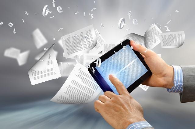 Ilustração  de homem lendo texto em tablet