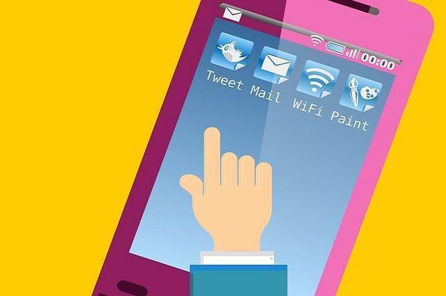 Ilustracao de mão tocando em tela de celular