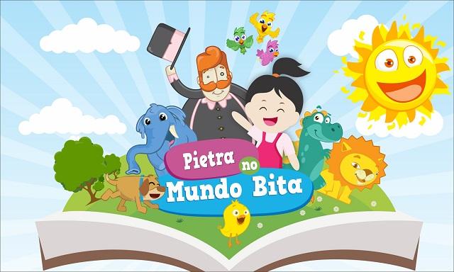 Menina, Bita e animais saltando de dentro de livro