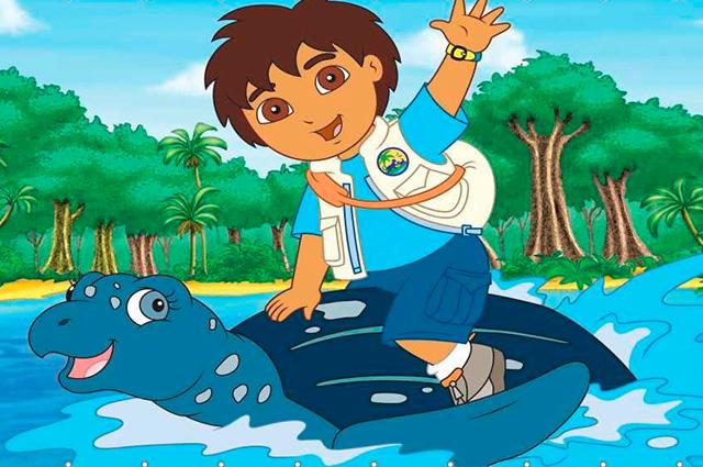 Menino nadando em cima de tartaruga
