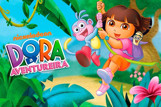 Dora e macaco saltando de um cipo