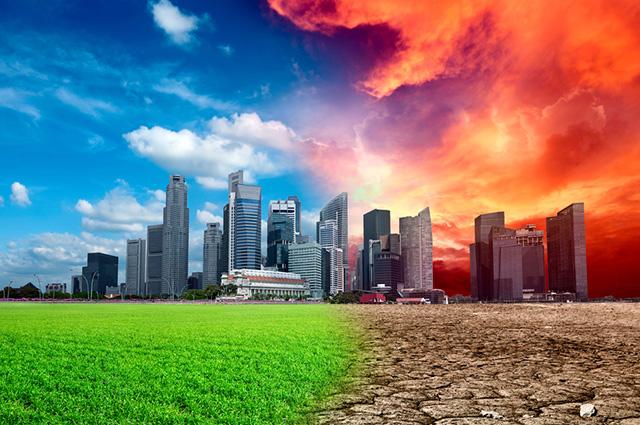 Cidade sofrendo aquecimento global