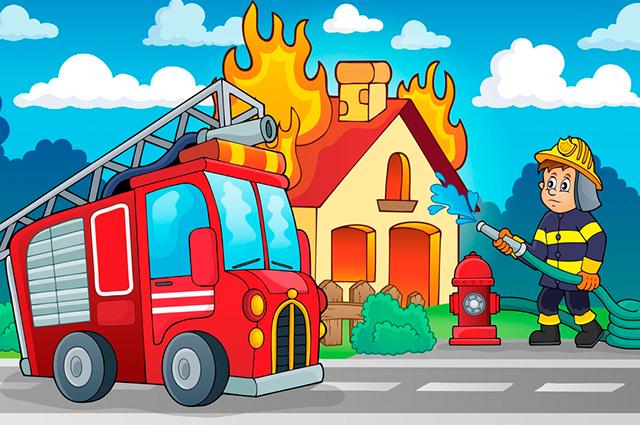 Desenho de bombeiro apagando fogo de casa