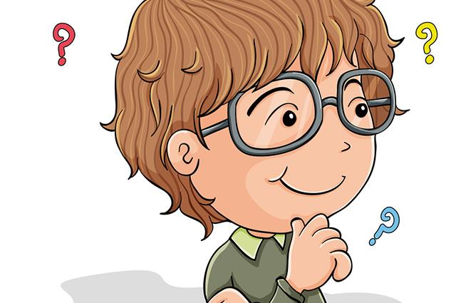 Desenho de menino com dúvidas