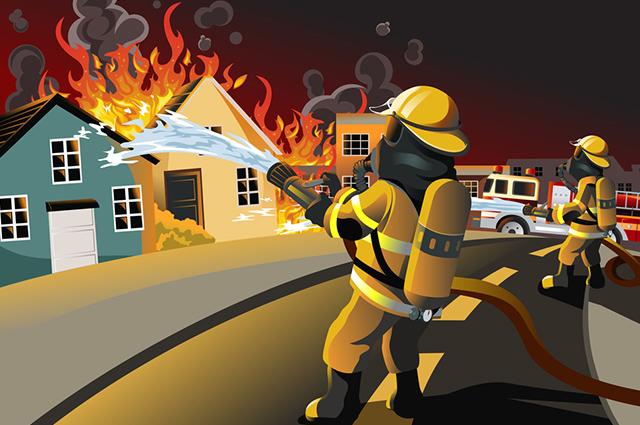 Bombeiro apagando chamas de casa