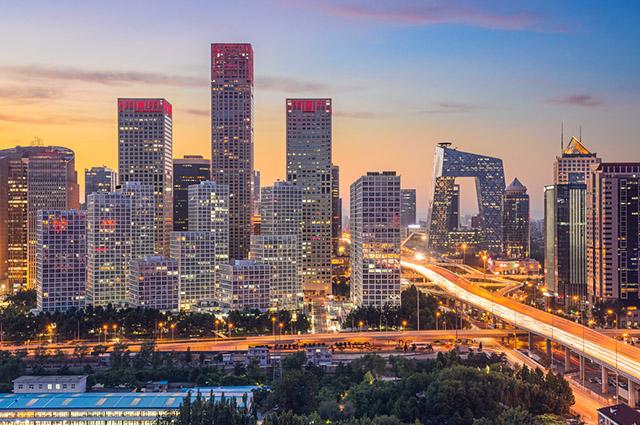 Prédios iluminados de Pequim