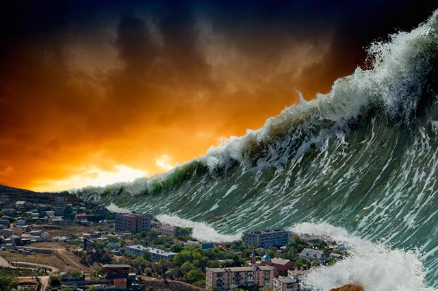 Tsunami atingindo cidade