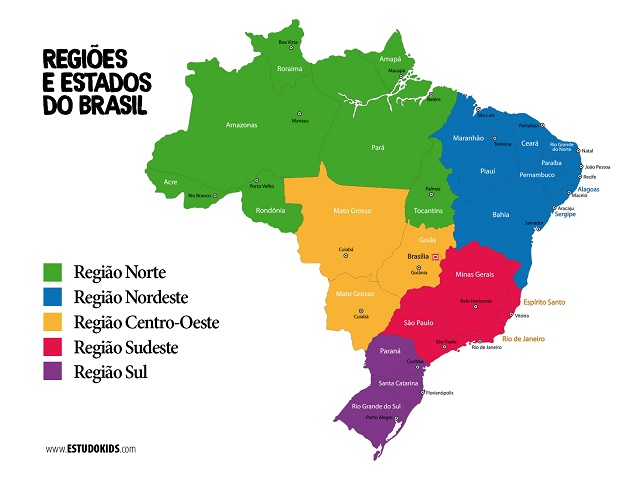 Mapa com estados do Brasil