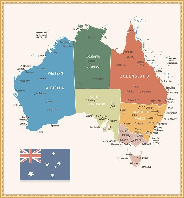 Mapa da divisão territorial australiana