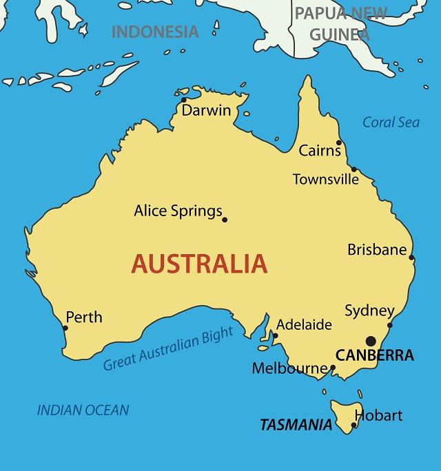 Mapa político da Austrália
