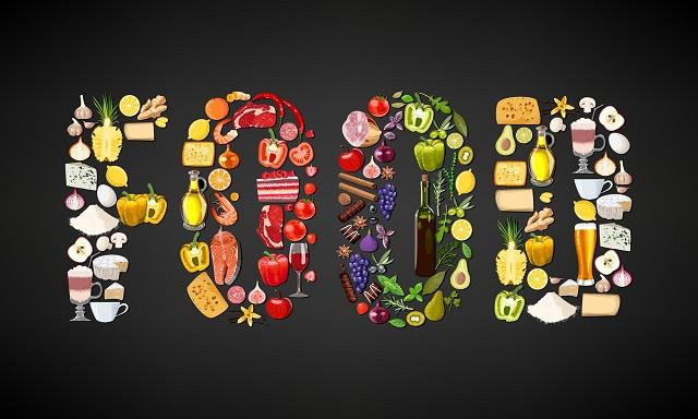 Comidas formando a palavra food