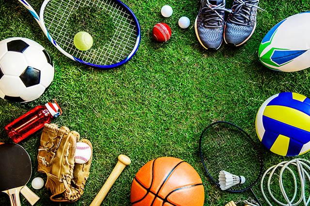 Objetos usadas em esportes diversos